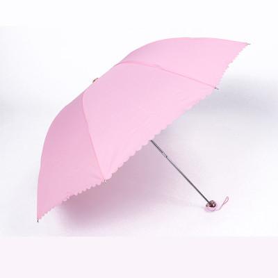 大道自然 时尚纯色花边三折晴雨伞 粉红色