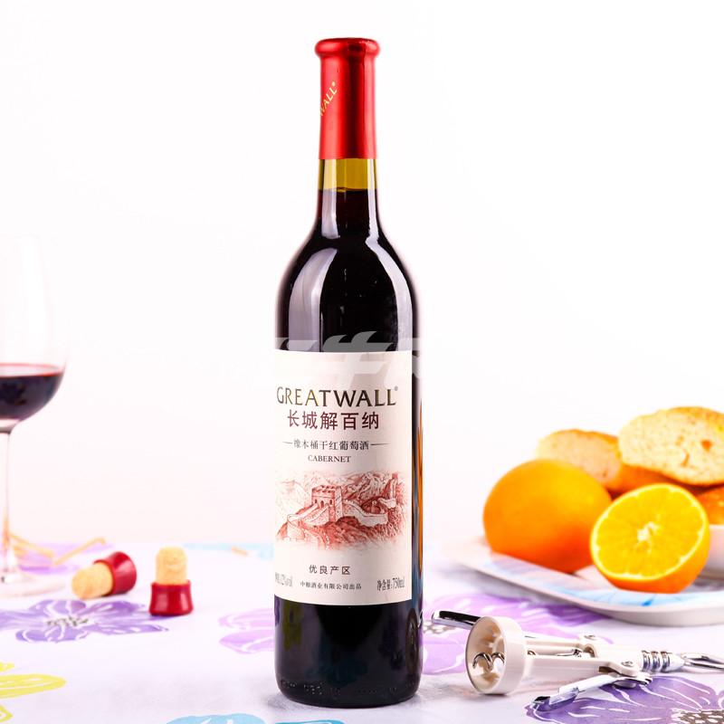 长城解百纳橡木桶优良产区干红葡萄750ml/瓶