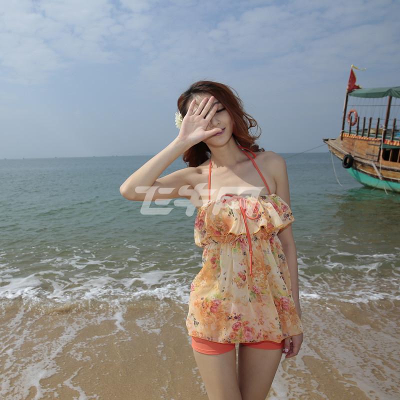 小色女小艳_夏艳 分体泳衣女比基尼三件套 小胸聚拢钢托游泳装罩衫遮肚平角 3566