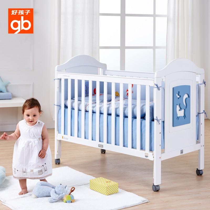 婴儿床欧式实木儿童床白色环保多功能