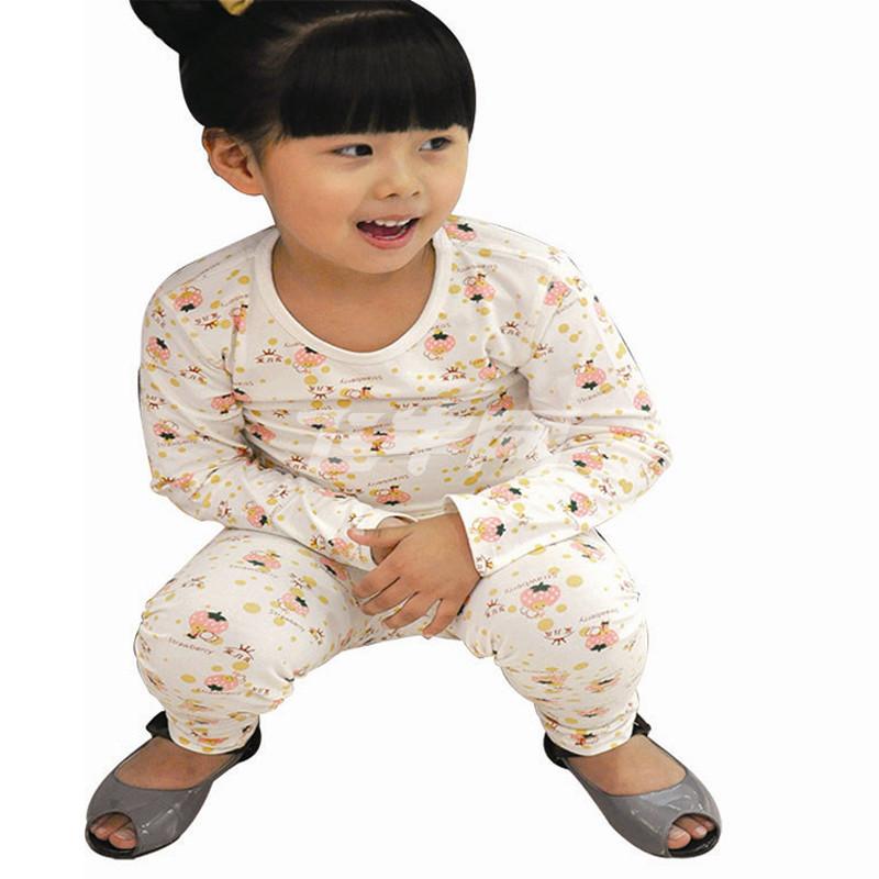 魔力岛 儿童保暖内衣套装 纯棉舒适宝宝睡衣 家居服 粉草莓娃 100