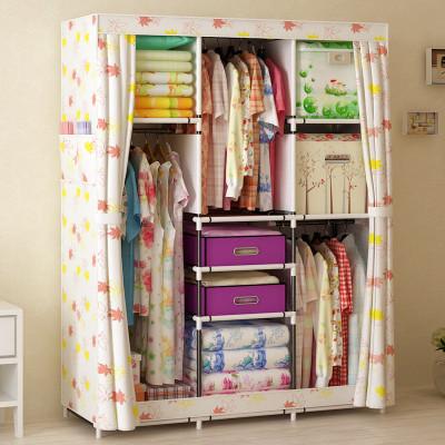 家世比 简易衣柜组装折叠收纳布衣柜加固钢管架单人款