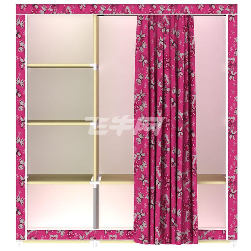 家世比 简易衣柜钢架布艺牛津布衣柜钢管加固组装组合双人窗帘式衣橱