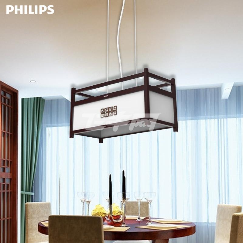 飞利浦led吊灯 客厅灯卧室餐厅书房灯具 木质边框创意设计 木雅餐吊灯