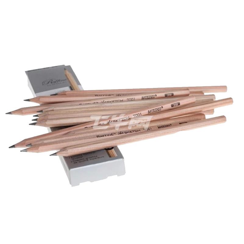马可7001-4b专业美术原木素描铅笔 12支*3盒 绘图绘画