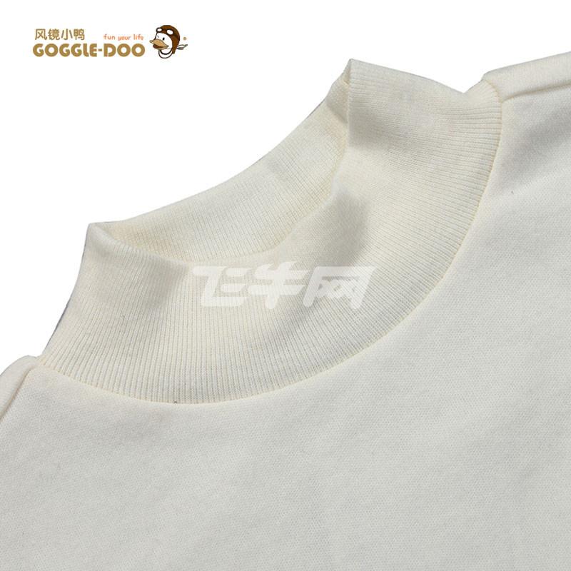 ��gd�gd�(�9/d_风镜小鸭 高领纯棉长袖t恤米白色刺绣百搭打底衫 1993gd-1-d 米白色