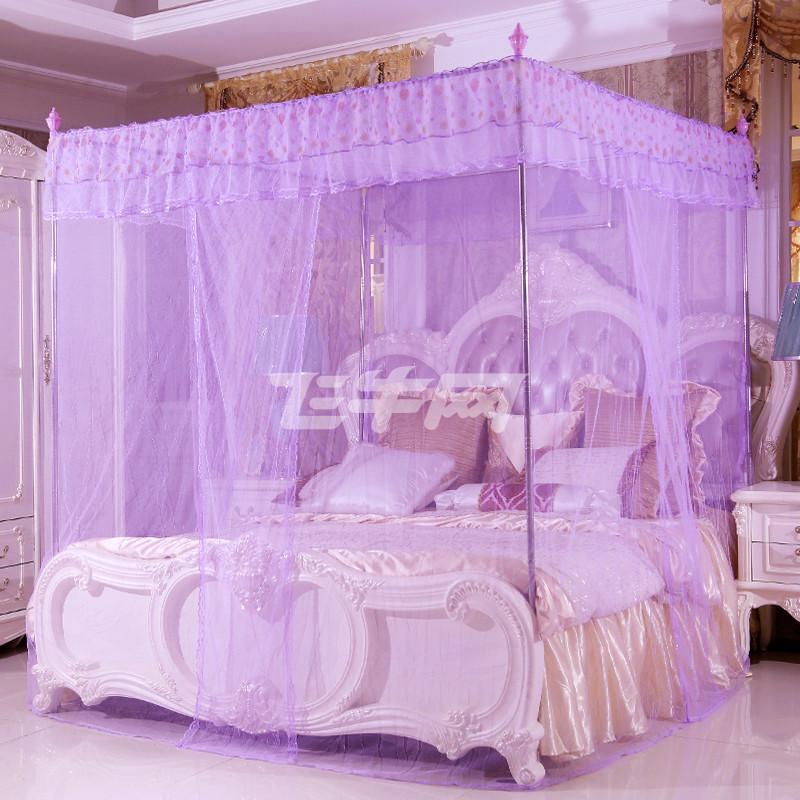 三开门欧式精美蕾丝花方顶宫廷落地蚊帐紫色