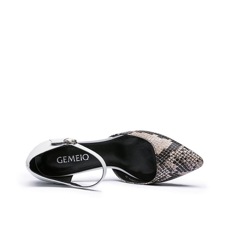 2016春款欧美时尚纳帕蛇皮浅口尖头小单鞋女高跟鞋 1612071-1 白色 35