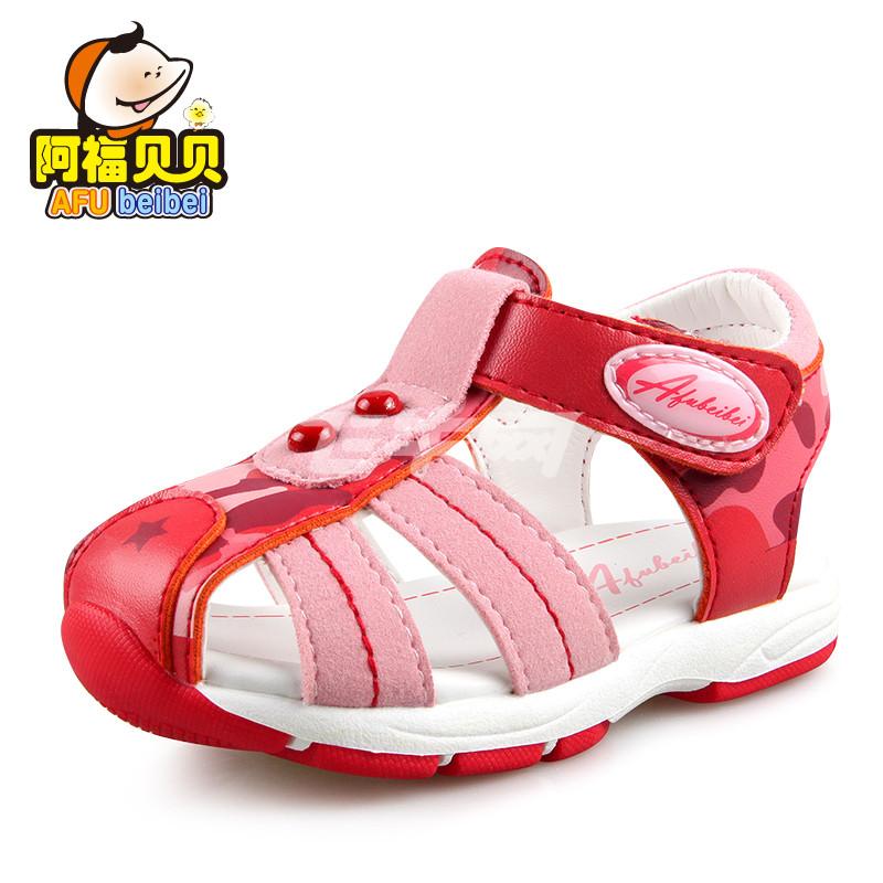 阿福贝贝 包头护趾清凉防滑舒适学步凉鞋 a6282 大红