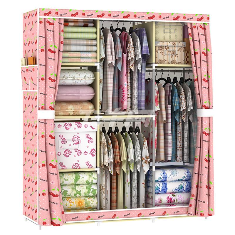 折叠简易衣柜简易布艺布衣柜钢管加粗收纳