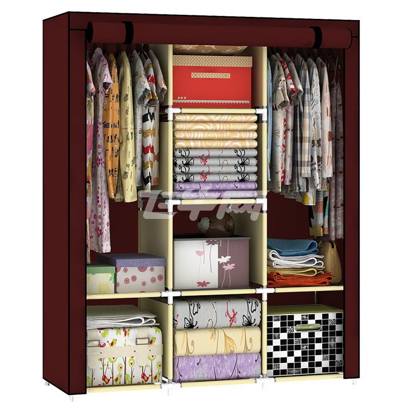 折叠简易衣柜简易布艺布衣柜钢管加粗收纳组装